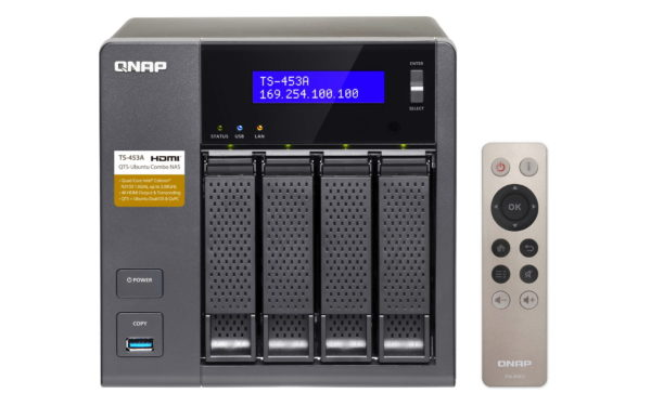 QNAP TS-453A 8GB Model 4 bay NAS with 4x 1TB WD RED Drives and remote.